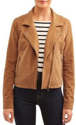 Time and Tru Women's Casual Knit Moto Jacket