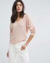 Jaeger Wool Cashmere V Neck Batwing Sweater