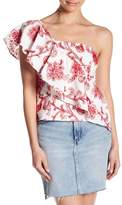 Do & Be Do + Be One Shoulder Embroidered Ruffle Blouse