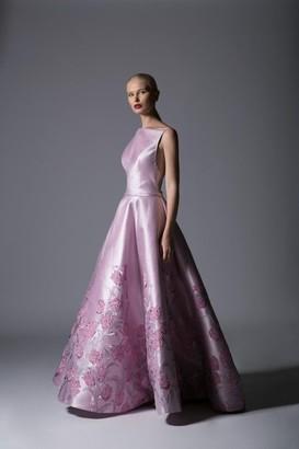 Divina by Edward Arsouni Sleeveless Jacquard Ball Gown
