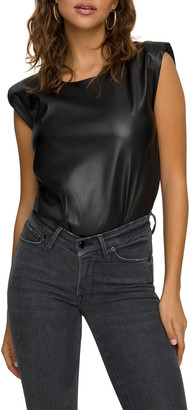 Good American Strong-Shoulder Faux-Leather Bodysuit