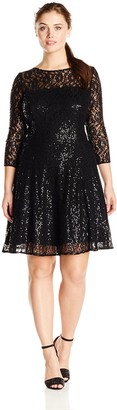SL Fashions Women's Plus Size Lace and Sequin Fit and Flare Dress