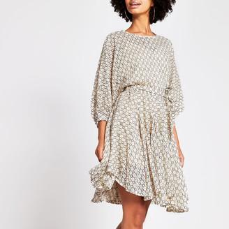 River Island Womens Beige lace waisted dress