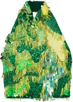 Ashish Sequin-Embellished Halterneck Top