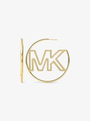Michael Kors 14K Gold-Plated Sterling Silver Pave Logo Hoop Earrings - Gold