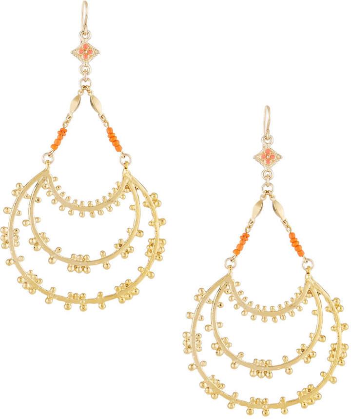 Devon Leigh Tiered Hoop Drop Earrings with Coral Beads