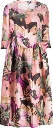 Comme des Garcons Floral-Print Midi Dress
