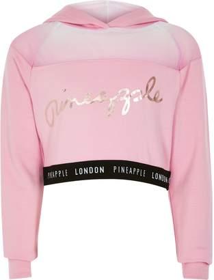 Pineapple River Island Girls Pink mesh cropped hoodie