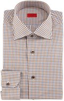 Isaia Windowpane-Check Woven Dress Shirt, Brown