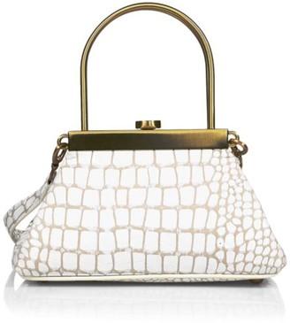 Cult Gaia Mini Estelle Croc-Embossed Leather Top Handle Bag