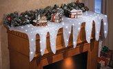 Lighted Snow Icicle Holiday Christmas Mantel Scarf