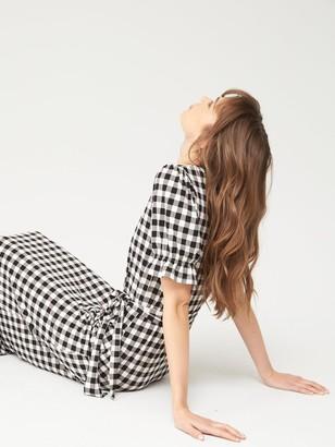 Very Jacquard Fixed Wrap Puff Sleeve Midaxi Dress - Gingham