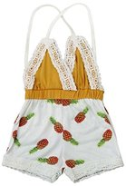 Jumpsuit Clothes,Orangeskycn Toddler Kids Baby Girls Pineapple Printing Lace Jumpsuit Sunsuit Clothes (24M, Yellow)