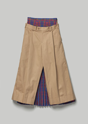 Junya Watanabe Women's Pant With Tartan Check Skirt Back in Pink Size 2