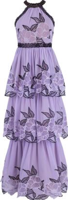 Marchesa Notte Halter Neck Lace Trim Tier Gown
