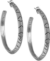 House Of Harlow 1960 Silver Aztec Hoop Earrings