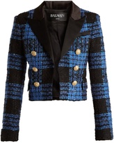 Balmain Tweed-checked satin-lapel cropped jacket