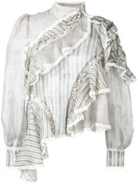 Zimmermann asymmetric frill blouse - women - Silk/Linen/Flax - 0