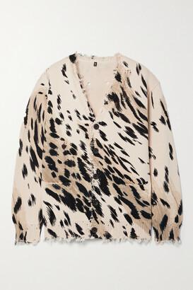 R13 - Distressed Cheetah-print Cotton Cardigan - Animal print