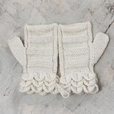 Off White Hand Knitted 100% Alpaca Fingerless Mittens, 'Pale Petals'