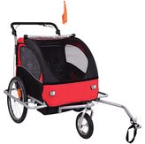 Baby Diego 2-in-1 Double Bike Trailer and Jogger Stroller in Red