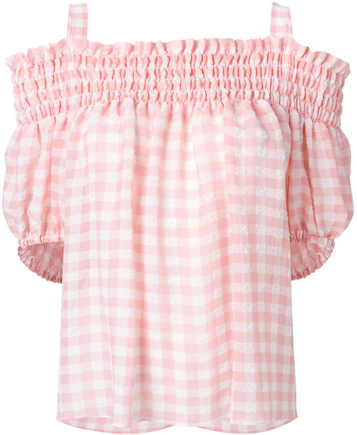 Moschino gingham cold shoulder top