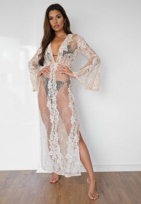Missguided Nude Lace Plunge Maxi Beach Dress