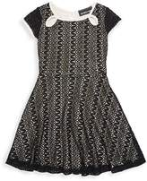 Un Deux Trois Little Girl's & Girl's Keyhole Lace Dress - Black Zig-zag, Size 7