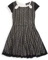 Un Deux Trois Little Girl's & Girl's Keyhole Lace Dress - Black Zig-zag, Size 7