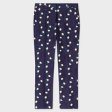Paul Smith Women's Slim-Fit Navy Cotton Trousers With 'Daisy-Chain' Print