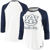 Under Armour Women's White/Navy Auburn Tigers Performance Cotton 3/4-Sleeve Raglan T-Shirt