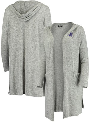 Women's Heathered Gray Washington Huskies Cuddle Soft Duster Open Cardigan