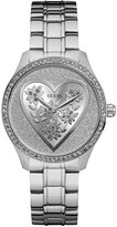 GUESS Silver-Tone Glitter Heart Watch