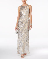 Betsy & Adam Petite Illusion-Back Sequin Gown