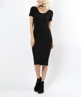 Black Scoop Neck Bodycon Dress