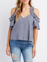 Charlotte Russe Ruffle-Trim Gingham Cold Shoulder Top