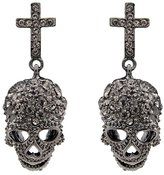 Butler & Wilson Butler and Wilson Pewter Cross and Skull Earrings
