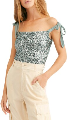 Free People Hey Girl Tie Shoulder Sequin Camisole