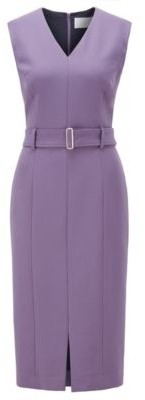 HUGO BOSS Midi Length Dress In Stretch Double Faced Fabric - Purple