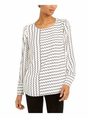 Alfani Womens White Printed Long Sleeve Scoop Neck Top UK Size:8