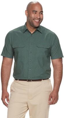 Croft & Barrow Big & Tall Classic-Fit Heather Mesh Quick-Dry Button-Down Shirt