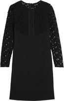 Lela Rose Macramé lace-paneled cotton-blend dress