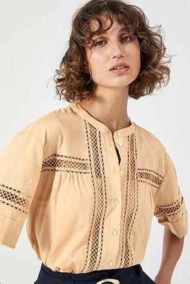 Witchery Lace Trim Short Sleeve Shirt