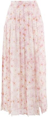 Giambattista Valli Floral-Print Pleated Skirt