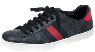 Gucci Blue GG Supreme Canvas And Python Trim Ace Lace Up Sneakers Size 40.5