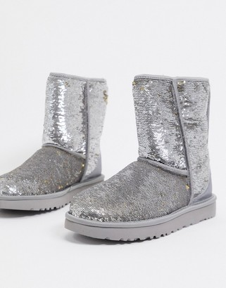 UGG classic short reversible sequin boots in gold