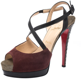 Christian Louboutin Multicolor Suede, Python And Leather Platform Ankle Strap Sandals Size 38