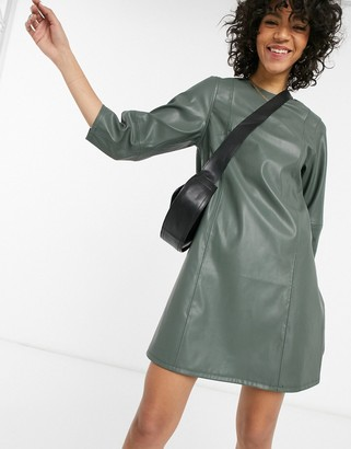 Weekday Meral faux leather mini dress in dusty green