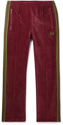 Needles Logo-Embroidered Webbing-Trimmed Cotton-Blend Velour Track Pants