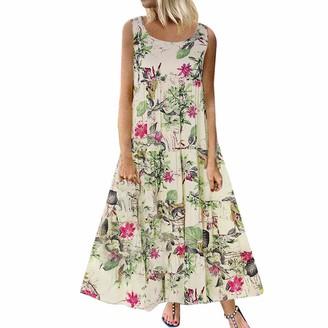 Clemunn Women Dress Clemunn Women's Casual Loose Sleeveless Sundress O-Neck A-line Beach Summer Swing Tank Tunic Dress Vintage Floral Printed Long Maxi Cotton Linen Dresses Beige